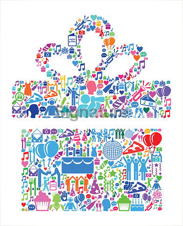 Gift Box Birthday Celebration Vector Icon Pattern