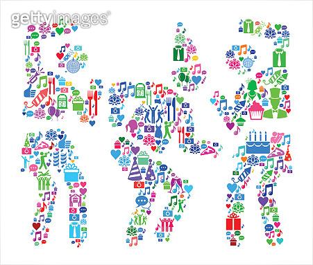 Birthday Party  Birthday Celebration Vector Icon Pattern