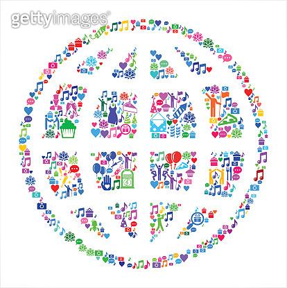 Globe  Birthday Celebration Vector Icon Pattern