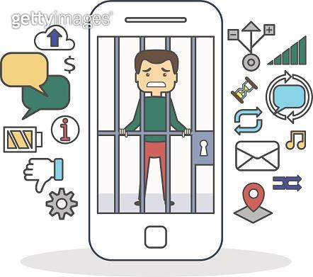 Man with smartphone addiction.