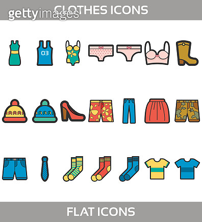 Simple Set ofClothes and shopping Vector flat with outline Icons. Contains suchIconsast-shirt, boots, shoes, pants, shorts, jeans, swimming suit, socks, hat, underwear and more.