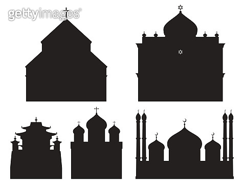 Cathedral black silhouette church temple traditional building landmark tourism vector illustration