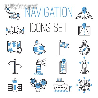 Navigation outline black location pin pictogram direction and search design earth web blue icons global pointer set map thin sign vector illustration