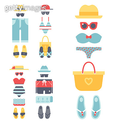 Beachwear bikini cloth fashion looks vacation lifestyle women collection sea light beauty clothes vector illustraton