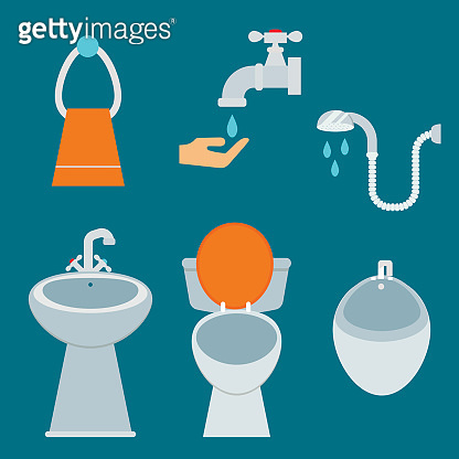 Bath equipment icon toilet bowl bathroom clean flat style illustration hygiene design