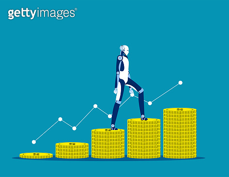 Financier. Artificial Intelligence and growth. Concept business currency vector illustration, Flat business cartoon, Finance and economy.