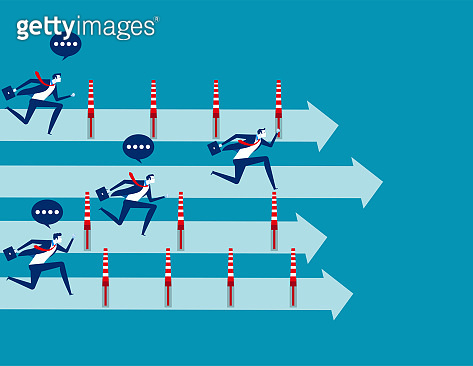 Business people and winning the race, Concept business vector illustration, Flat business cartoon, Unfair, Competition, Running to success.