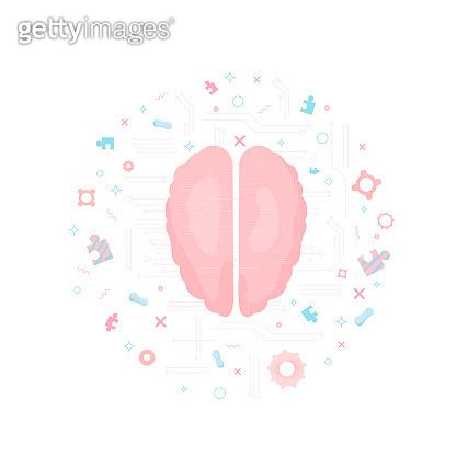 Brain with decoration.  Vector illustration.