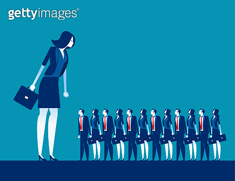 Business manager looking on crowd. Concept business vector, Group of people, Searching, Human