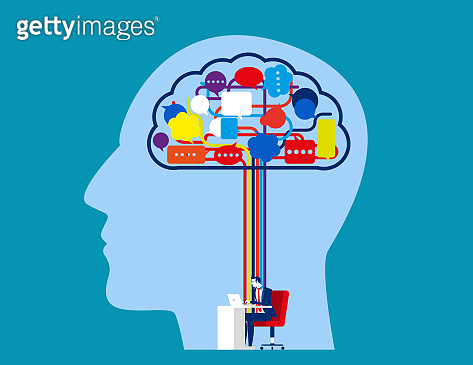 Businessman mind and speech bubble thoughts. Concept business vector memories vector illustration. Social media, People speech.
