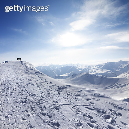 Top station of ropeway on ski resort