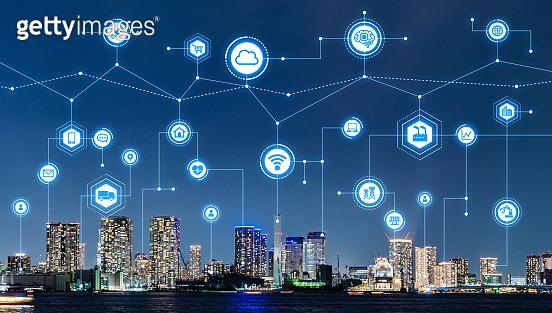 Smart city and telecommunication concept.