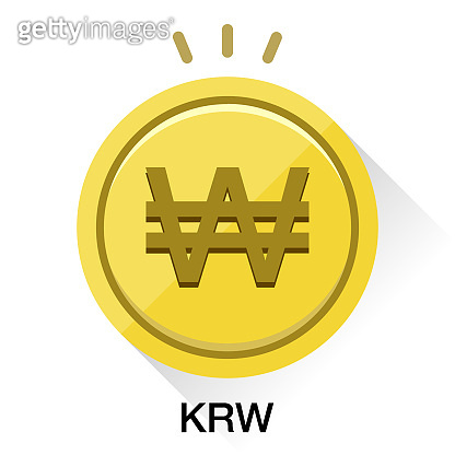Korea won KRW money. Gold coin Vector illustration image