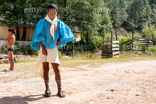 Young Traditional Tarahumara Man in Sierra Madre, Mexico