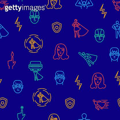 Super Hero Thin Line Seamless Pattern Background. Vector
