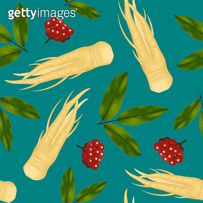 Realistic Detailed 3d Ginseng Root and Leaves Seamless Pattern Background. Vector