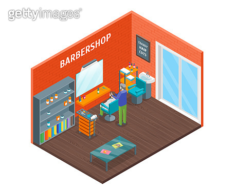 Haircut Room Interior with Furniture Isometric View. Vector