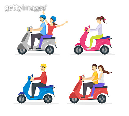 Cartoon Characters Group of People Riding Motorcycle Set. Vector