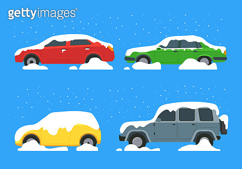 Cartoon Color Cars Covered Snow Icon Set. Vector