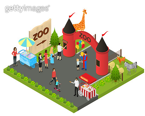 Outdoor Zoo with Wild Animals Concept 3d Isometric View. Vector
