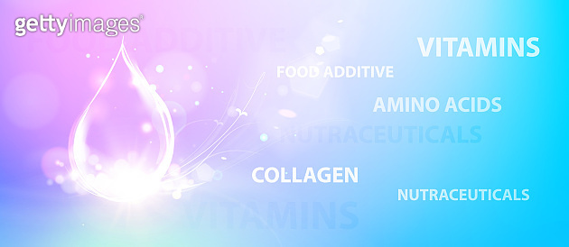 Regenerate face cream and Vitamin complex concept. Shining violet essence droplet. Vitamin E drop in form of sphere. Beauty skin care design over blue background.