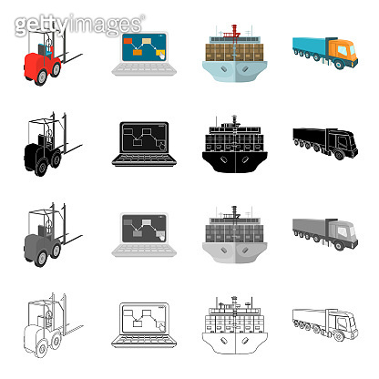 Loader, laptop, shipping by sea, truck. Logistics and delivery set collection icons in cartoon black monochrome outline style vector symbol stock illustration isometric web.