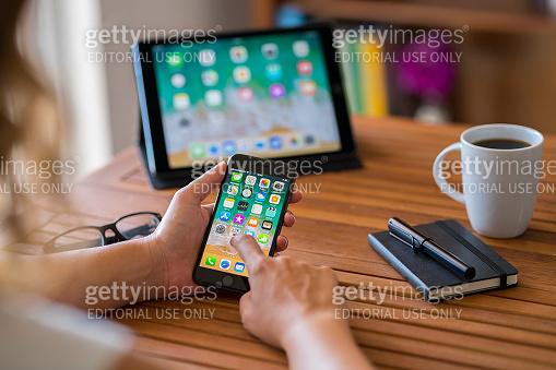 Using iPhone 8 smart phone