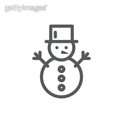 Snowman editable icon vector illustration - thin line winter symbol of active and funny leisure.