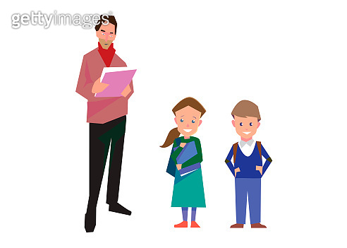 Flat style education illustration with teacher and pupils isolated on white. Vector school people collection.