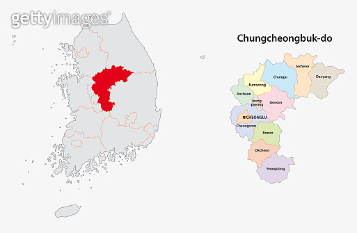 south korea north chungcheong province map