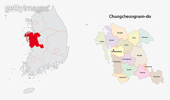 south korea north south chungcheong province map
