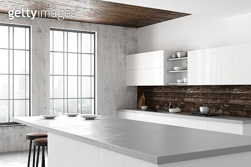 Light loft kitchen interior