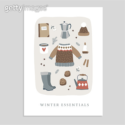 Cute Christmas greeting card, invitation with winter essential food and lifestyle icons. Knitted sweater, hat, coffee, cinnamon bun and candles. Vintage flat design. Isolated vector objects.