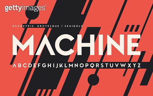 Geometric semibold weight san serif, alphabet, uppercase letters, font.