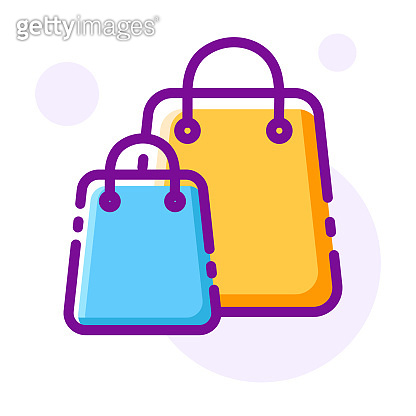 Shopping bags LineColor illustration