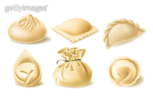 Realistic vector clipart of different dumplings