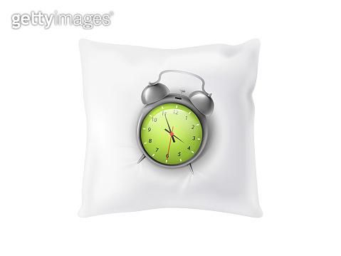 Vector 3d realistic alarm clock on pillow