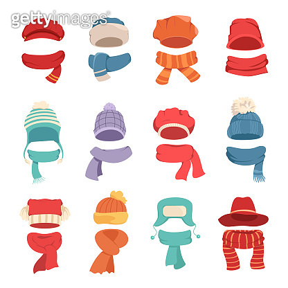 Autumn and winter hats with a warm scarf