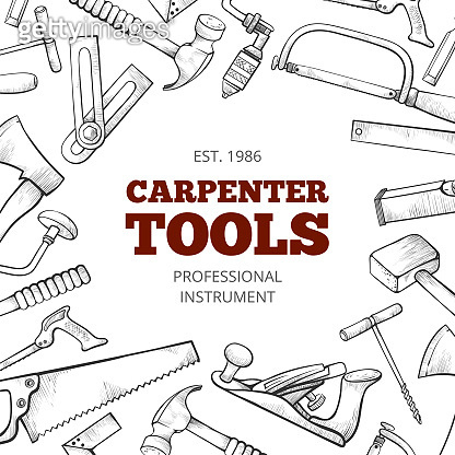 Carpenter hand tools and professional instruments set frame