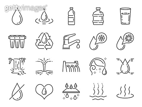 Water icon set. Included icons as water drop, moisture, liquid, bottle, litter and more.