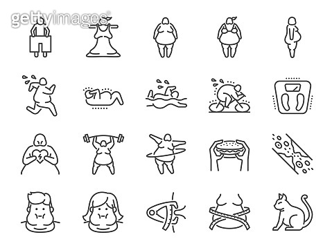 Overweight line icon set. Included the icons as fat, cholesterol, lose weight, exercise, scales and more.