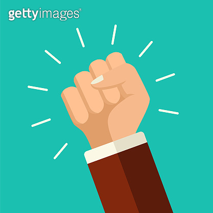 Vector illustration protest concept. Mans fists, protest placard symbol. Hands holding signs and bullhorn. Politic crisis, political background. Flat style demonstration or revolution poster.