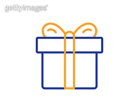 Gift box line icon. Present sign. Vector