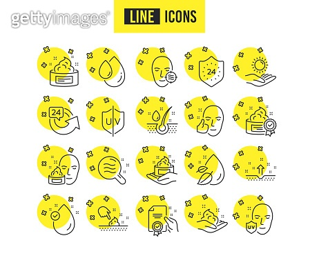 Skin care line icons. Set of Cream, Serum drop and Face gel or lotion. Vector
