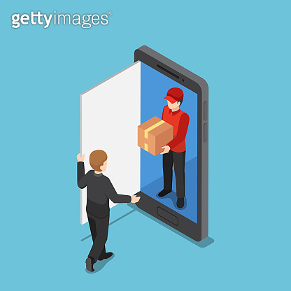 Isometric delivery man come out from smartphone and delivering package