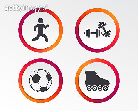 Football ball, Roller skates, Running icons.