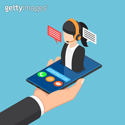Isometric businessman hand holding smartphone with female call center icon