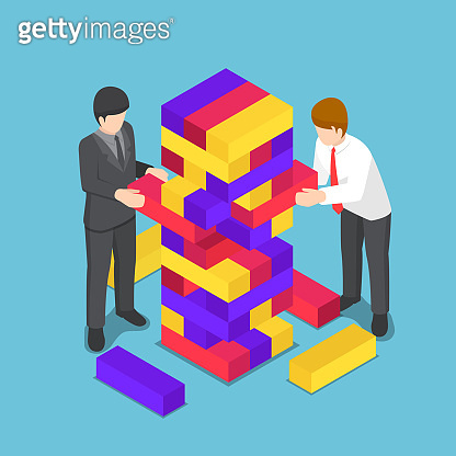 Isometric business people playing wood tower toy.
