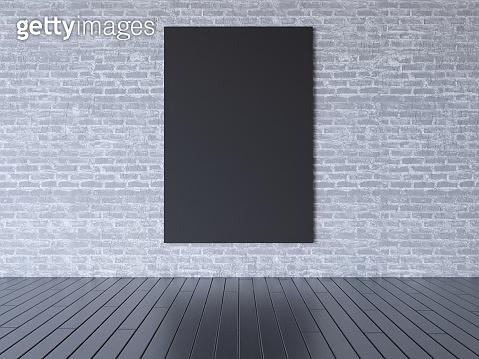 mock up poster with vintage hipster loft interior background, 3D illustrator wooden,  work  picture,  portfolio,