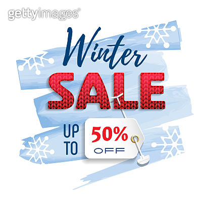 Winter Sale. Colorful banner with red knitted font, price tag and sales text.